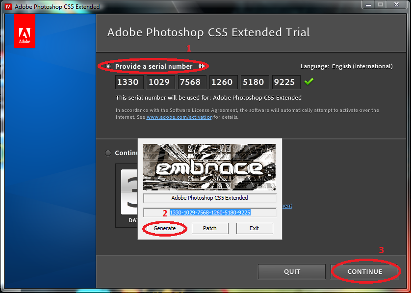 adobe photoshop cs3 extended serial number authorization code