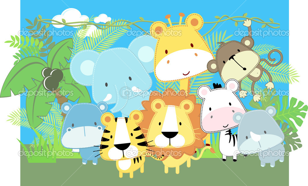 Baby Jungle Animals Clip Art