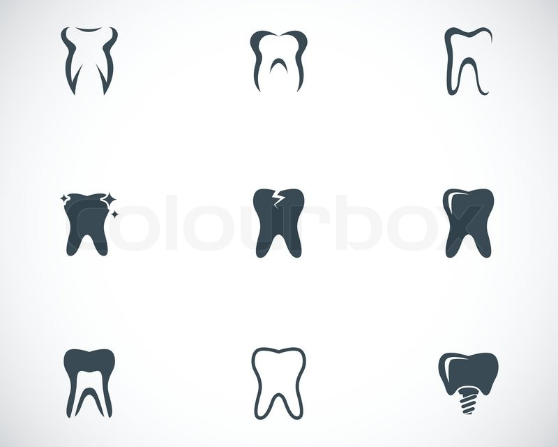 Black and White Tooth Vector