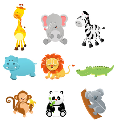 Cartoon Baby Safari Animals