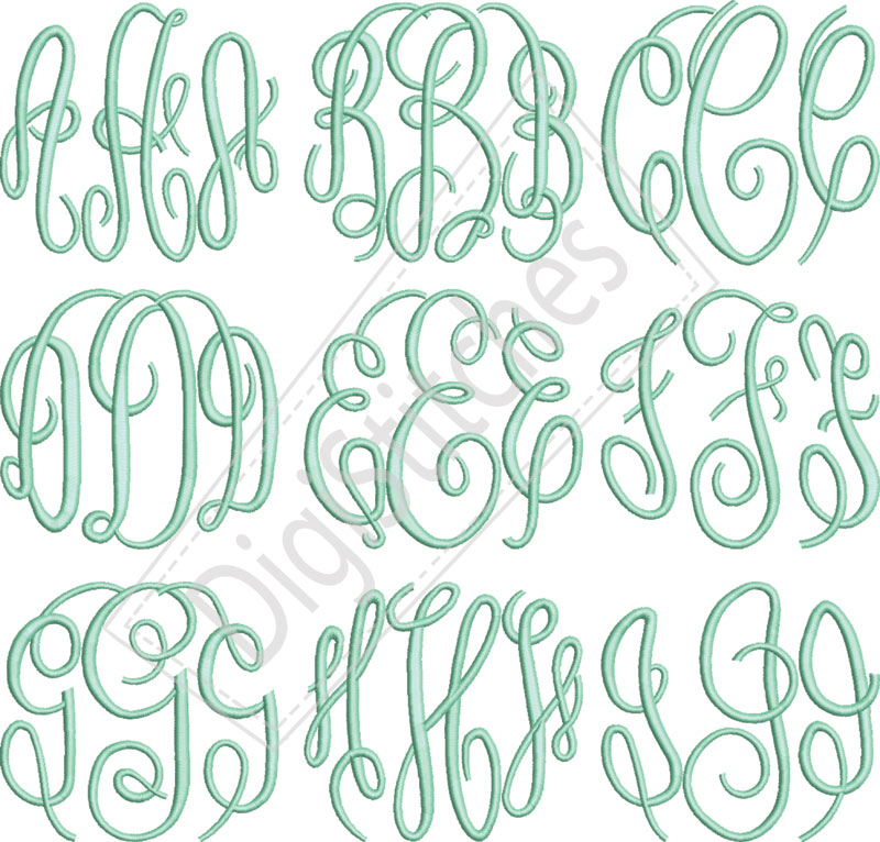 Circle Script Monogram Embroidery Font