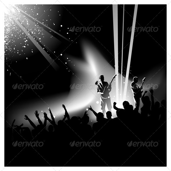 10 Concert Crowd Vector Images - Crowd Silhouette Vector ...