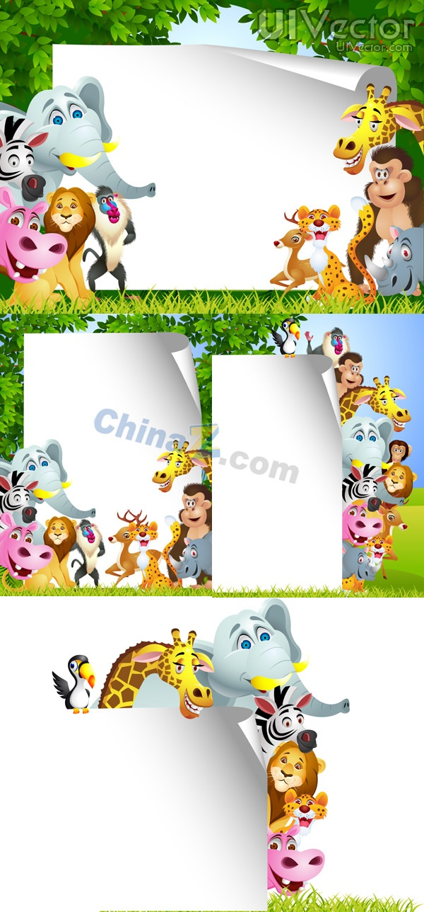 Cute Jungle Animals Vector