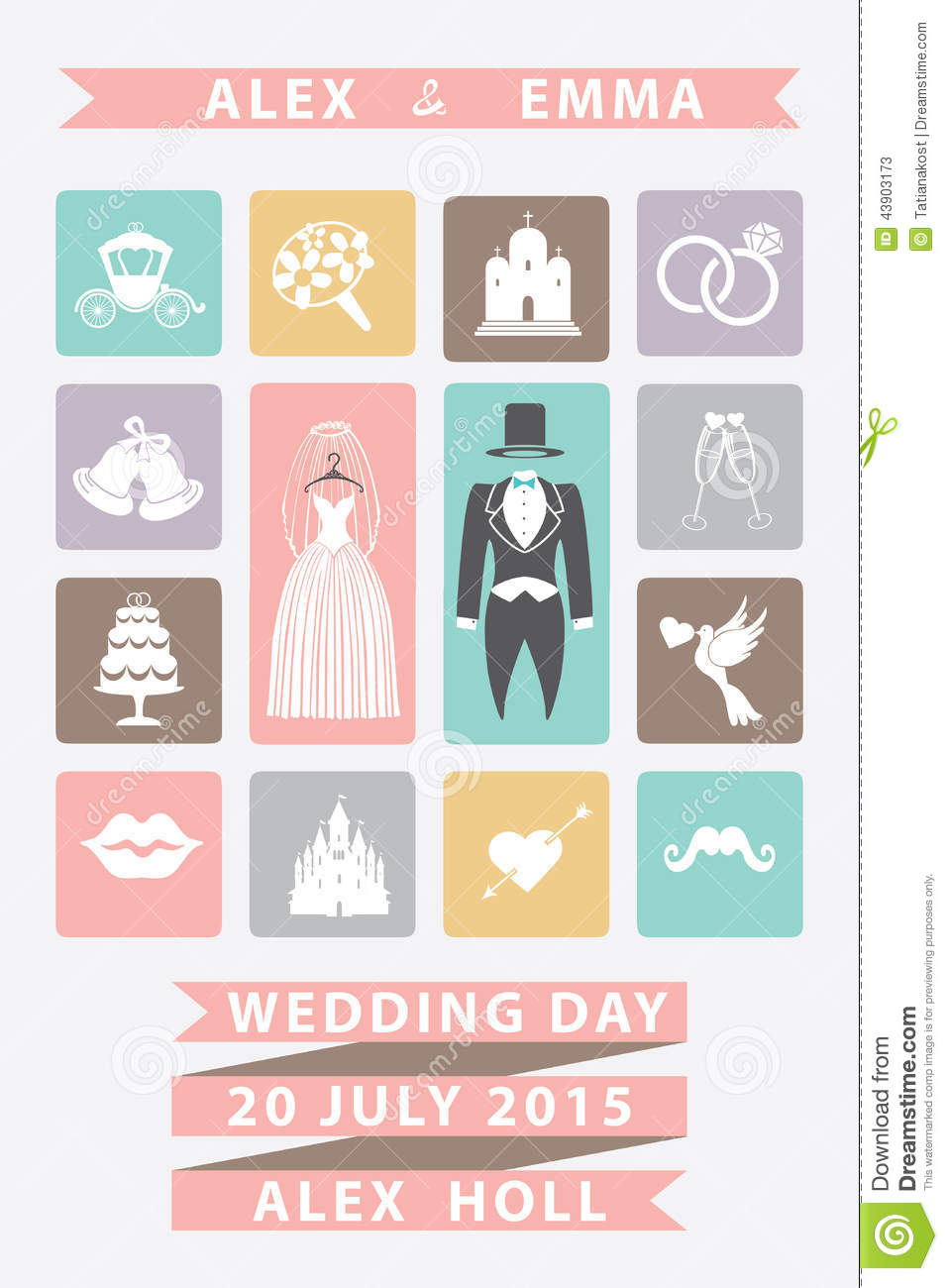 Cute Wedding Invitation Icons