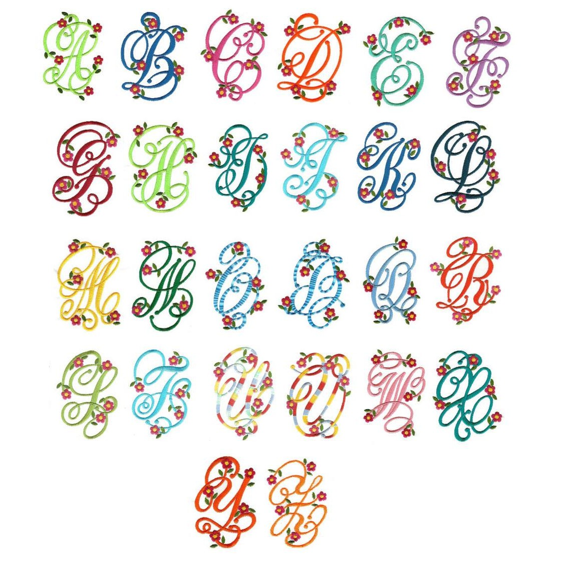 Floral Monogram Font Embroidery Design