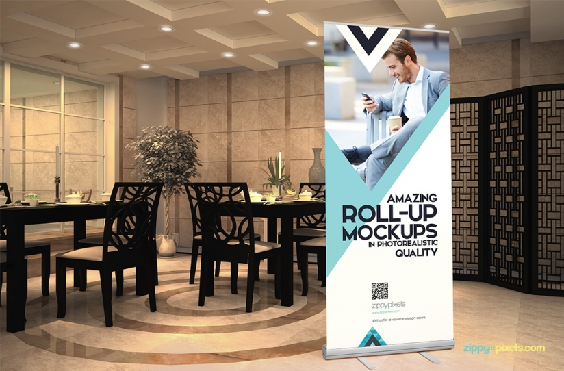 8 Roll Up Banner PSD Mockups Images