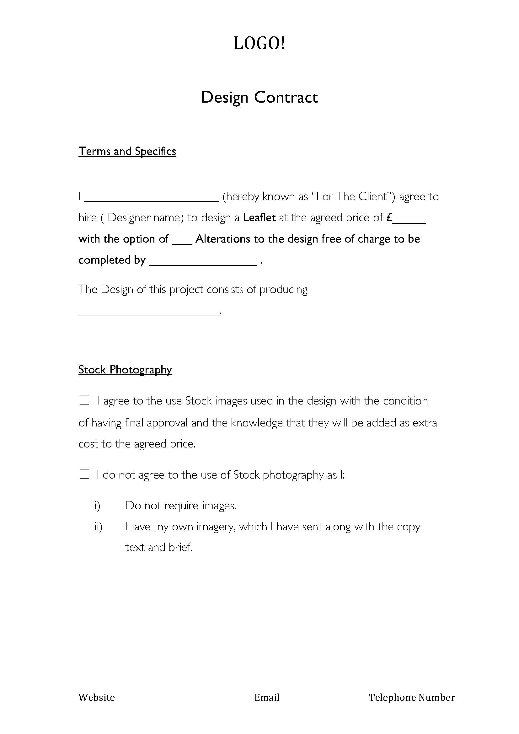11 Graphic Design Contract Template Sample Images Graphic