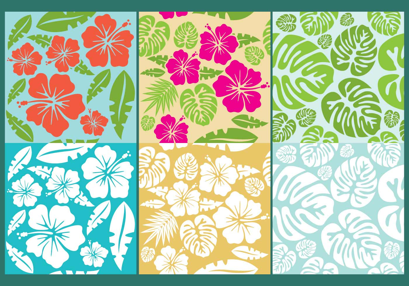 Hawaiian Vector Flower Patterns