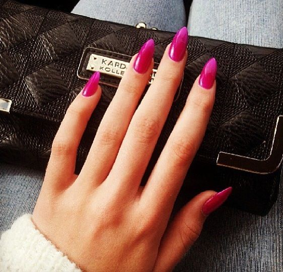12 Pink Pointy Nail Designs Images