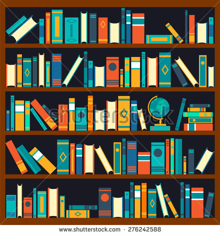 Library Book Shelves Clip Art