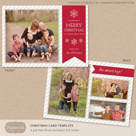 16 Christmas Card Photoshop Templates Images
