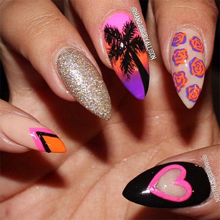14 Pointy Nail Designs Images Simple Pointy Nail Design Long