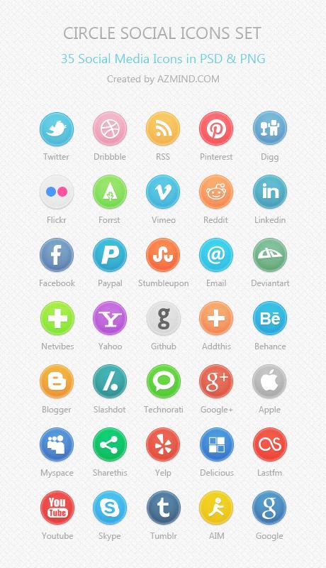 Social Media Icons Circle