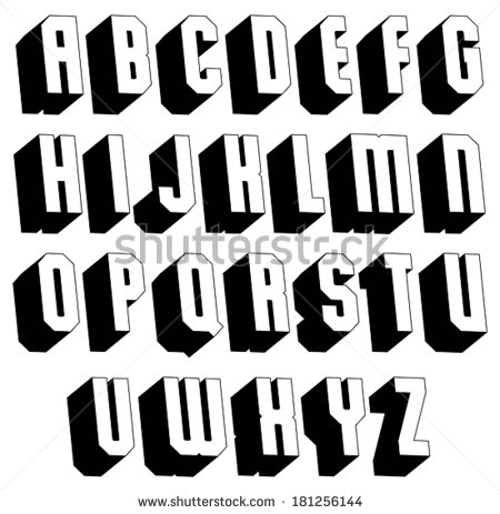 3D Shadow Letters Alphabet