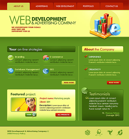Advertising Free Web Design PSD Templates
