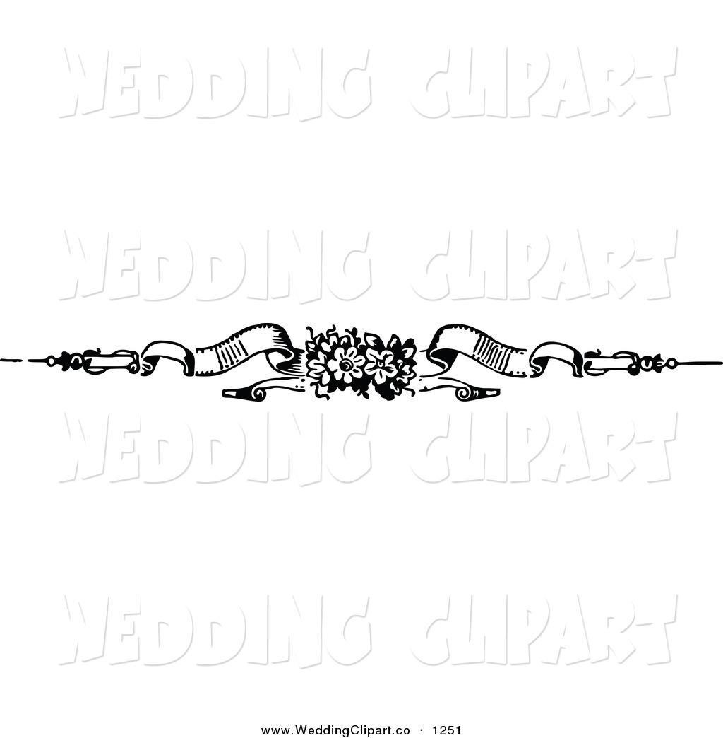 Banner Clip Art Black and White Wedding