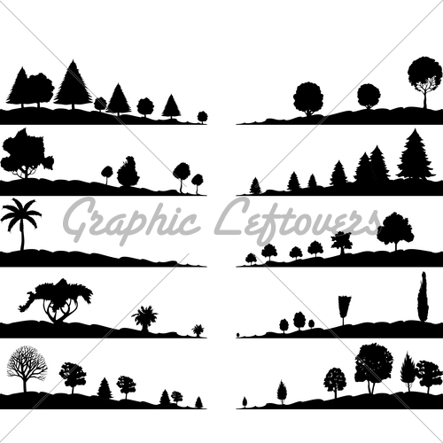 Black and White Landscape Silhouette