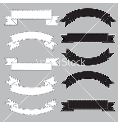 Black and White Ribbon Banner Vector