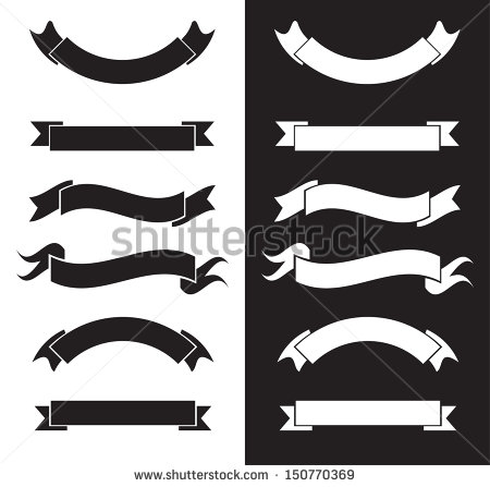 20 Black And White Vector Ribbons Images