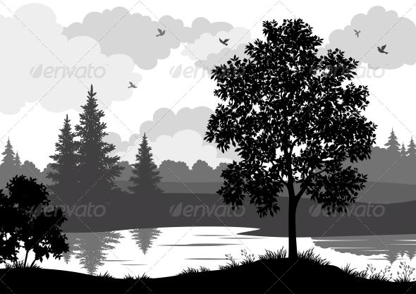 Black Silhouette Landscape