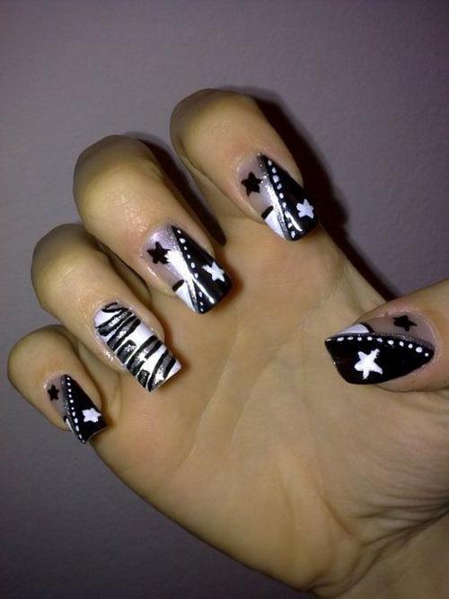 16 Black Acrylic Nail Designs 2014 Images