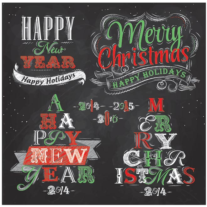 15 Vector Christmas Chalkboard Images