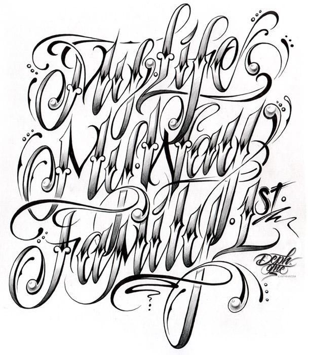 Cursive Tattoo Lettering Font