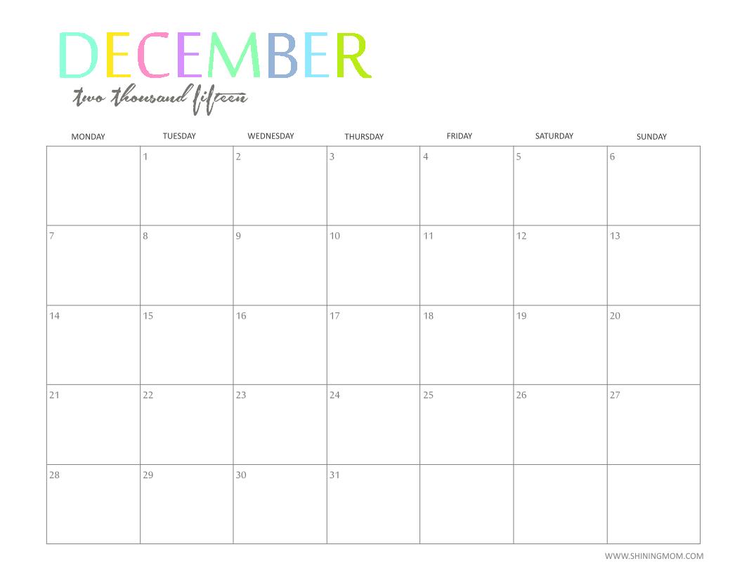 December 2015 Monthly Calendar Printable