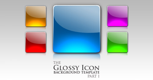 10 Glossy Icon Template PSD Images