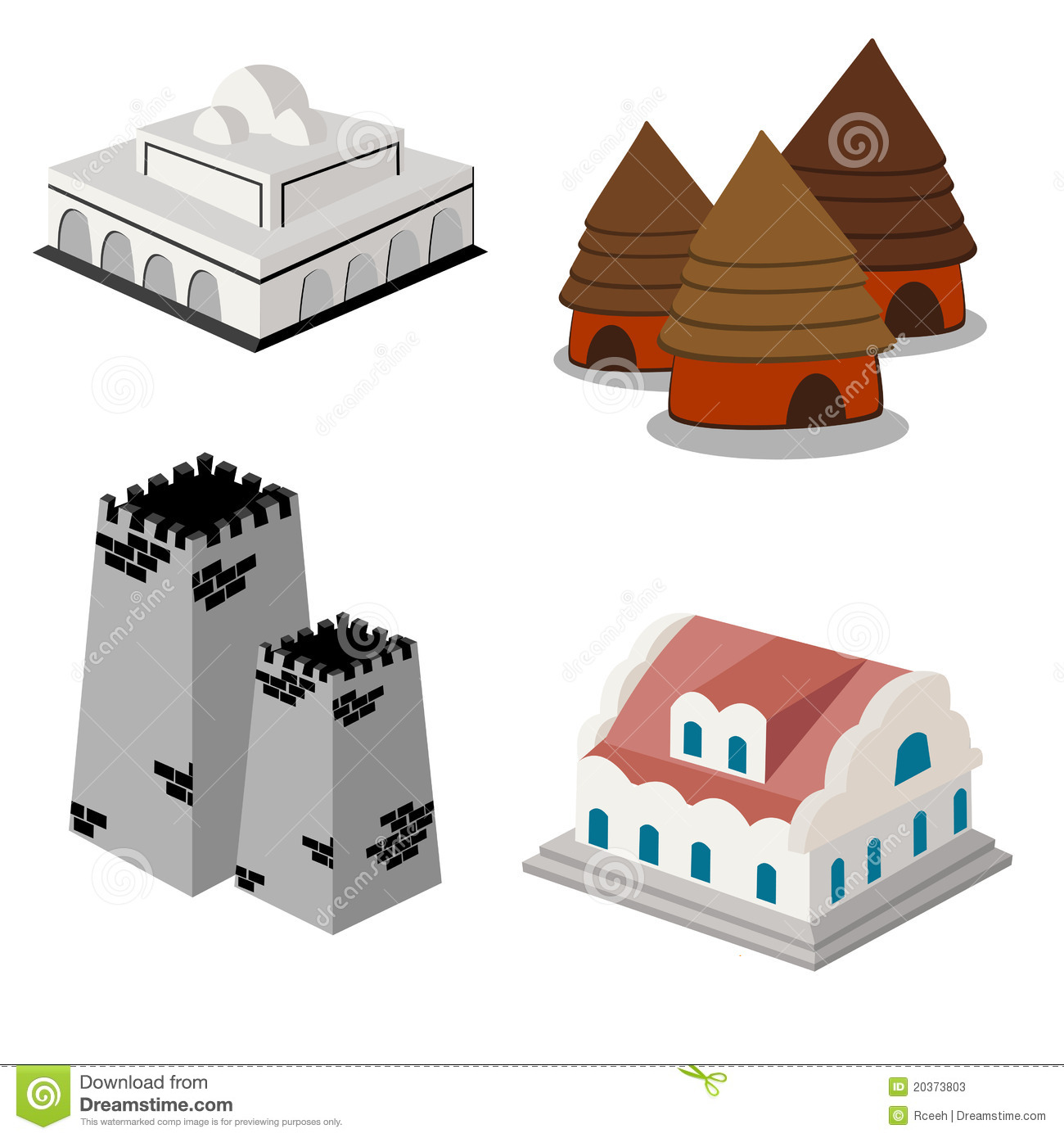 6 Isometric Building Icon Images