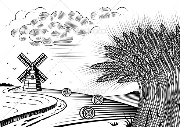 Landscape Clip Art Black and White