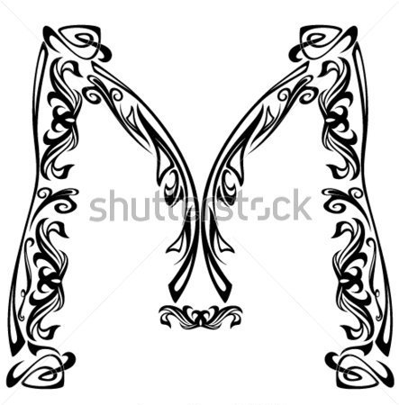 Letter M-Clip Art Black and White