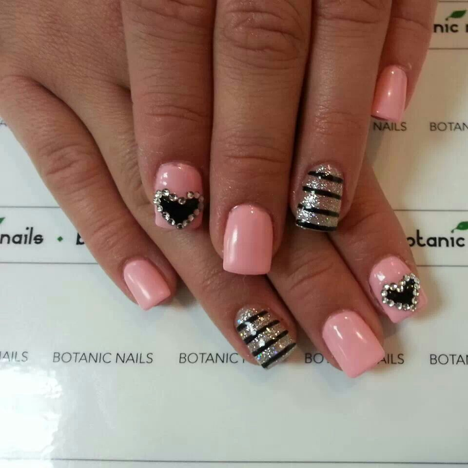 Light Pink and Black Nail Design