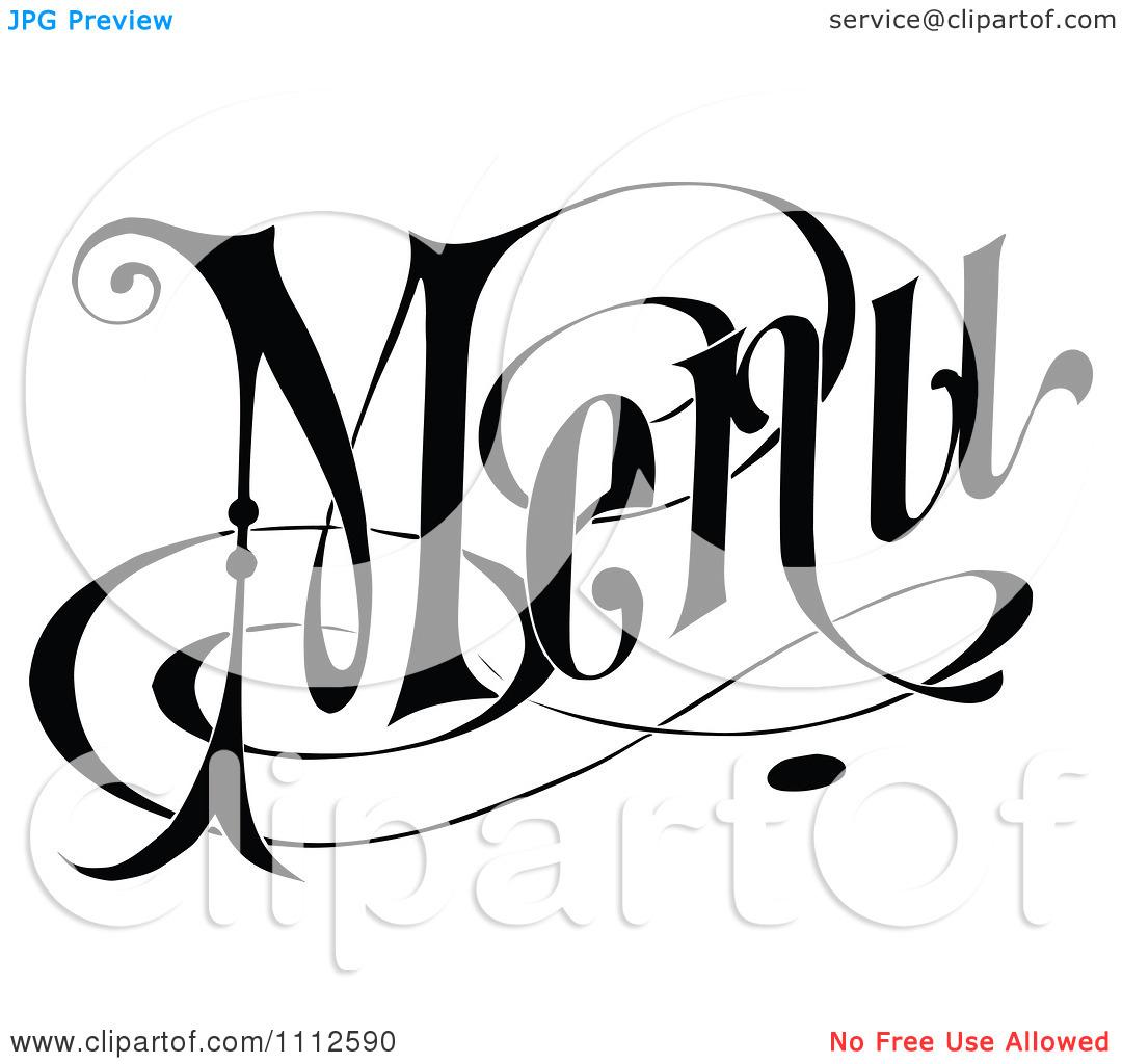 Menu Clip Art Black and White