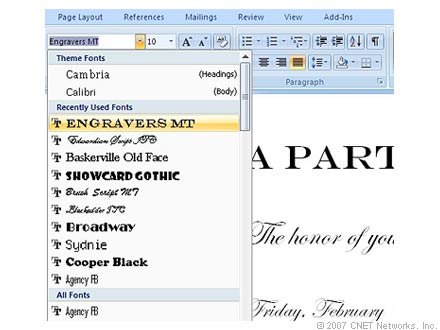 microsoft office word font