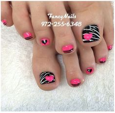 Pink and Black Toe Nail Design