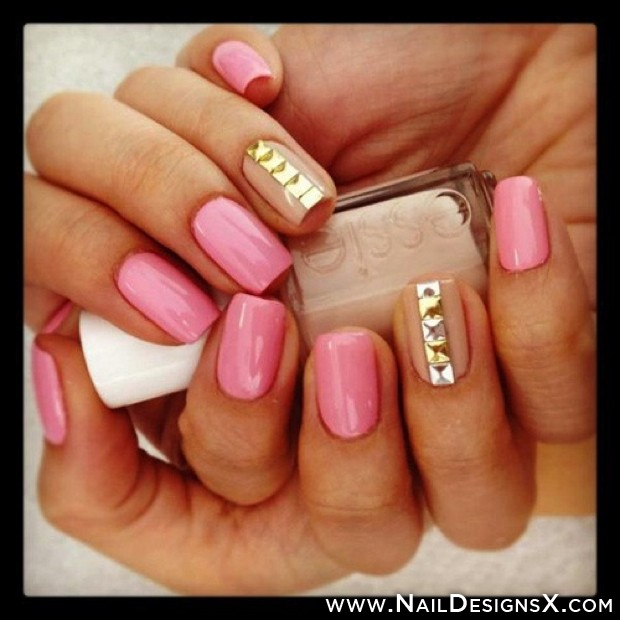 Pink and Gold Nail Design