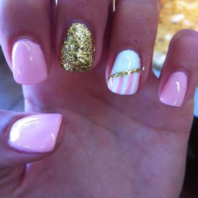 Pink White and Gold Nail Design