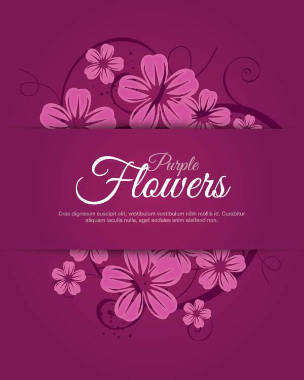 Purple Flower Banner Clip Art