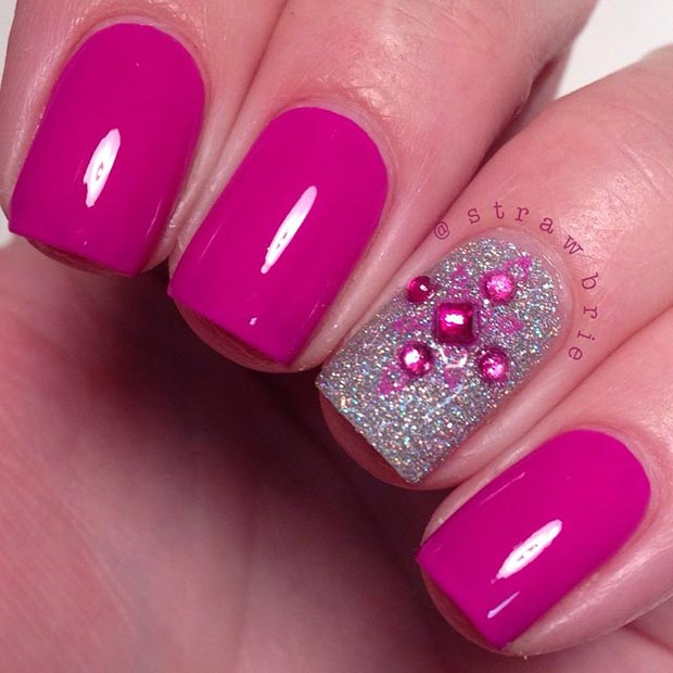 Short Pink and Silver Nail Design