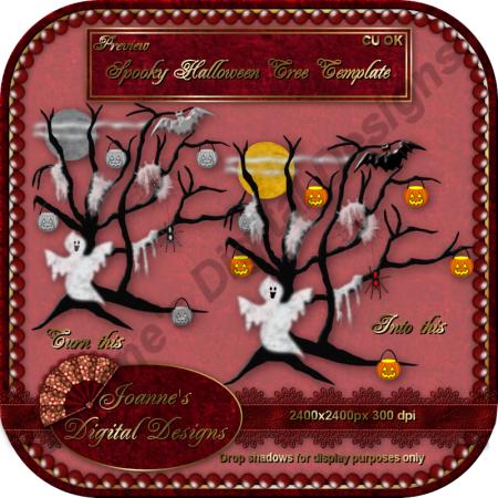 Spooky Halloween Tree Template