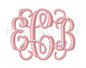 Thick Vine Monogram Font for Embroidery