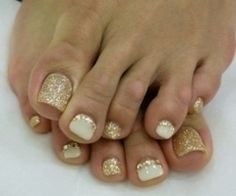 Toe Nail Designs Pink and Gold