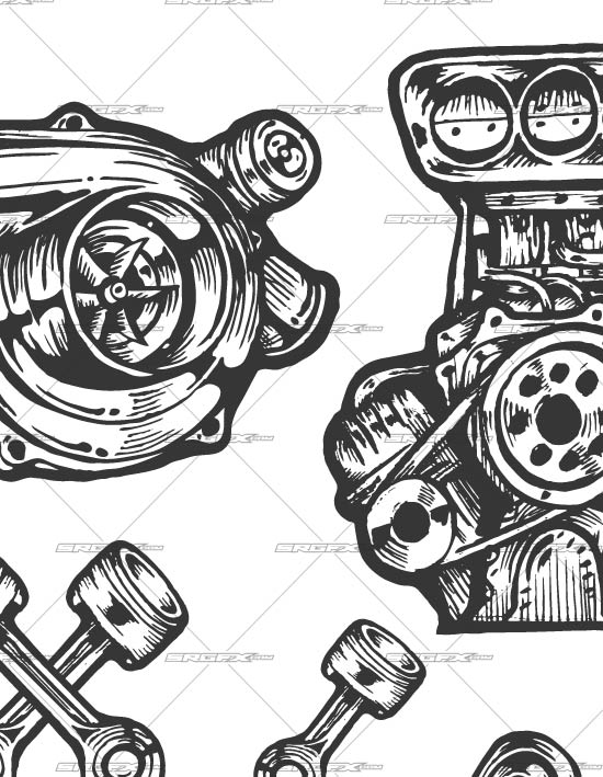6 Cartoon Vector Turbo Engine Images
