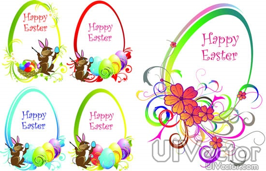18 Easter Bunny Vector Border Images