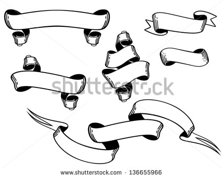 Vector Ribbons Black and White