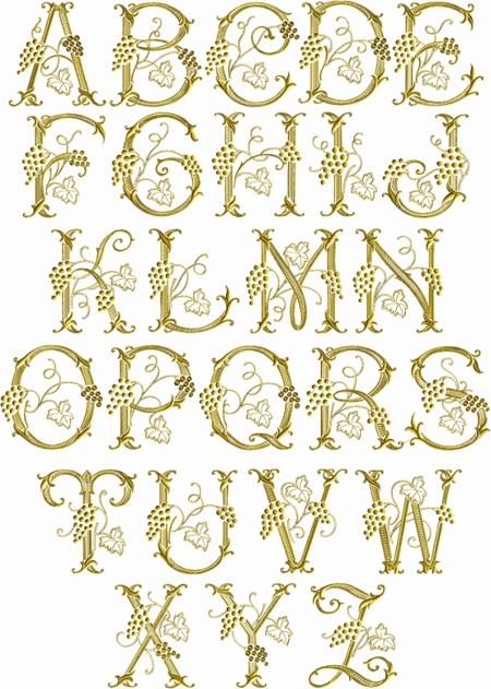 Vine Embroidery Font Alphabet