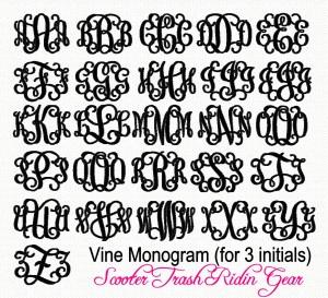 Vine Monogram Embroidery Font