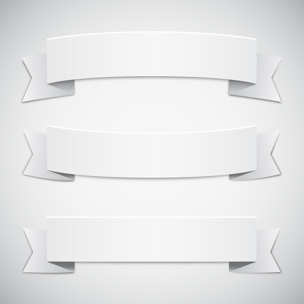 White Ribbon Banner Vector Free