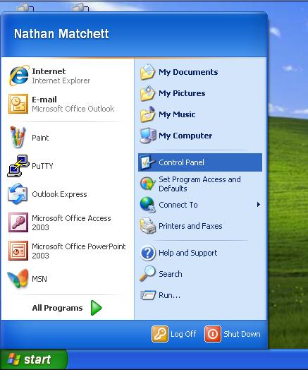 Windows XP Start Menu Button